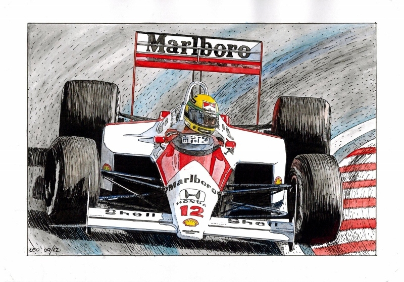 Ayrton Senna, McLaren MP4/4 1988 by Leotrek