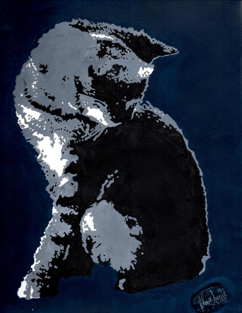 B/W cat by camelliane