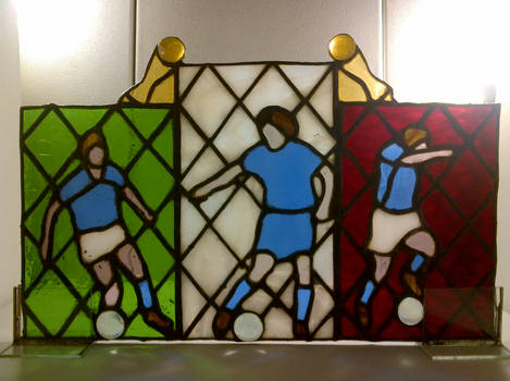 Stained glass Italian footballers