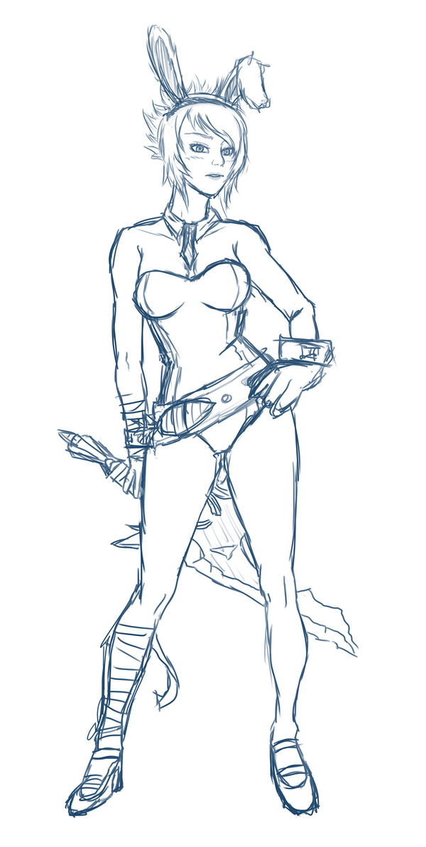 Battle bunny riven sketch by Airusa-Chan