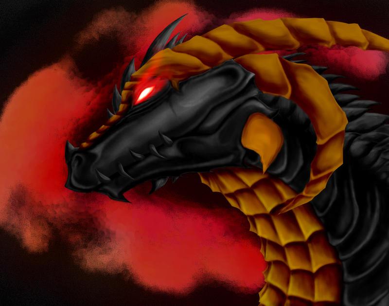 Black Golden-Trim Dragon by Omniron