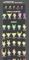 Astrovin Trait Sheet 1 (Animal Rarities, Horns)