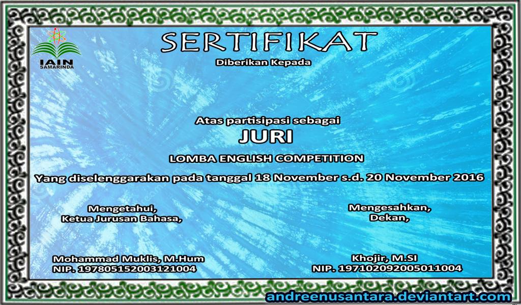 certificate by andreenusantara