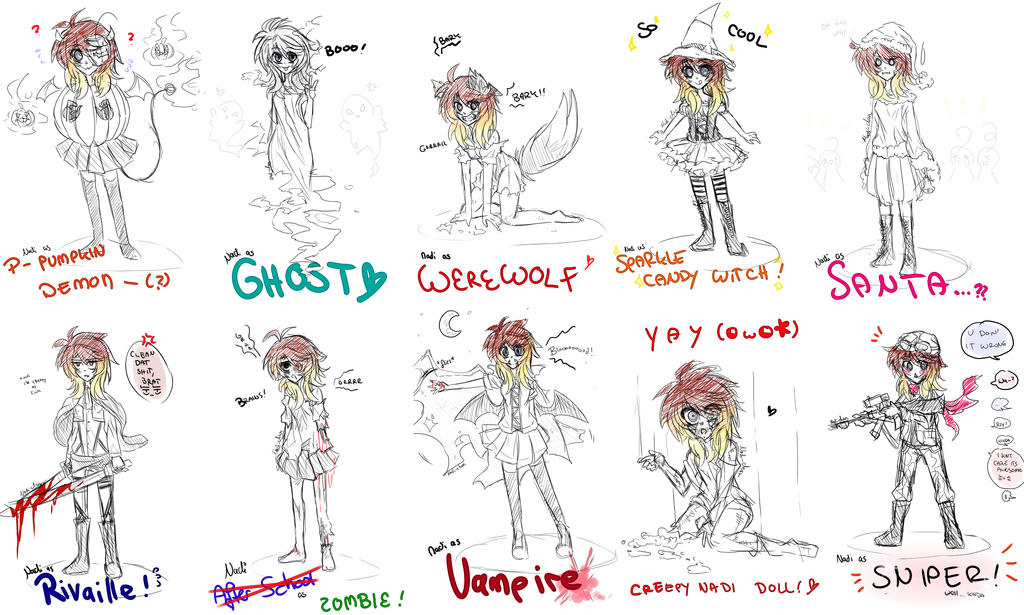 [Doodle] Nadi's Halloween Outfits by Nadi-Chan