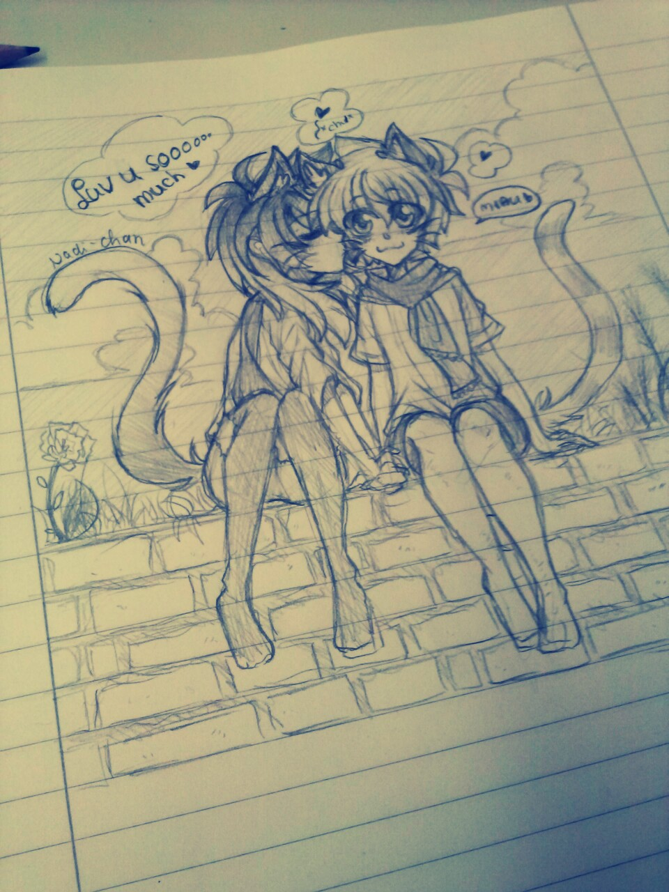 [Doodle] Cat love by Nadi-Chan