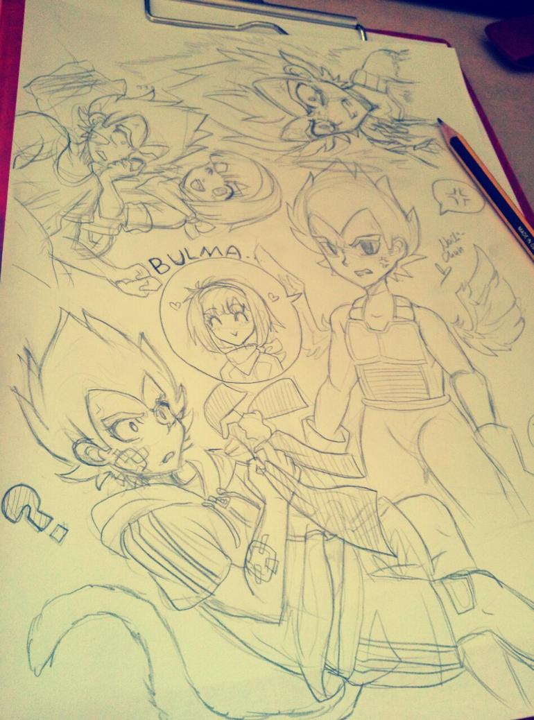[DBZ Doodles] Vegeta and Bulma by Nadi-Chan
