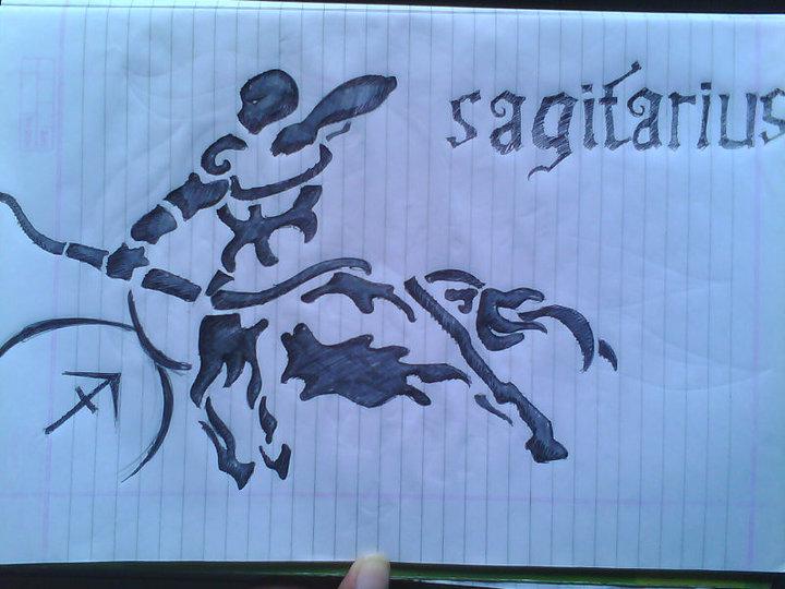 Sagittarius Zodiac Tribal Tattoo Design