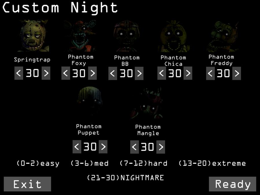 Fnaf 3 custom night screen by lllrafaelyay on deviantart