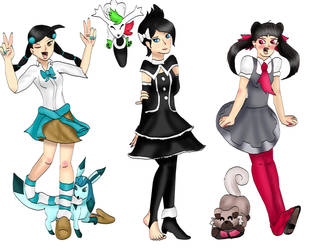 Commission Pokemon girls by kingofthedededes73