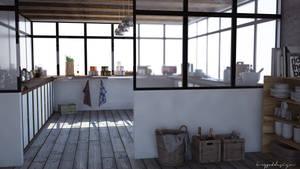 Concrete loft kitchen