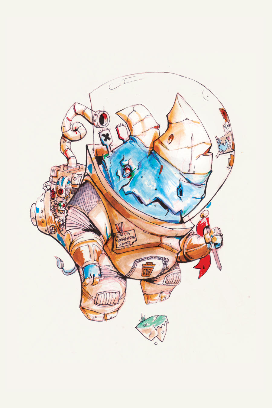 Rhino in Space - Print available by Mc-Johnstable