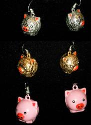 Pig Earrings by ADreamersImagination