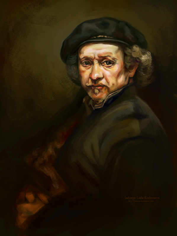a copy of the self-portrait by Rembrandt by ladunya