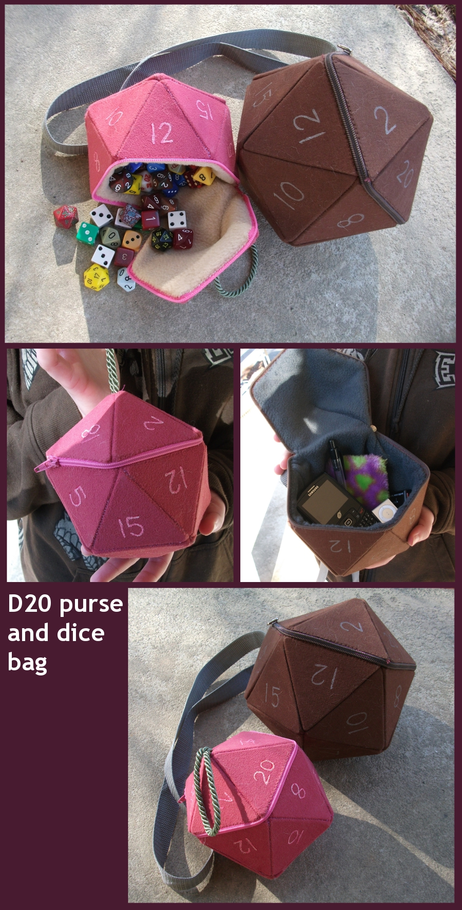 D20 purse and dice bag prototypes by angermuffin