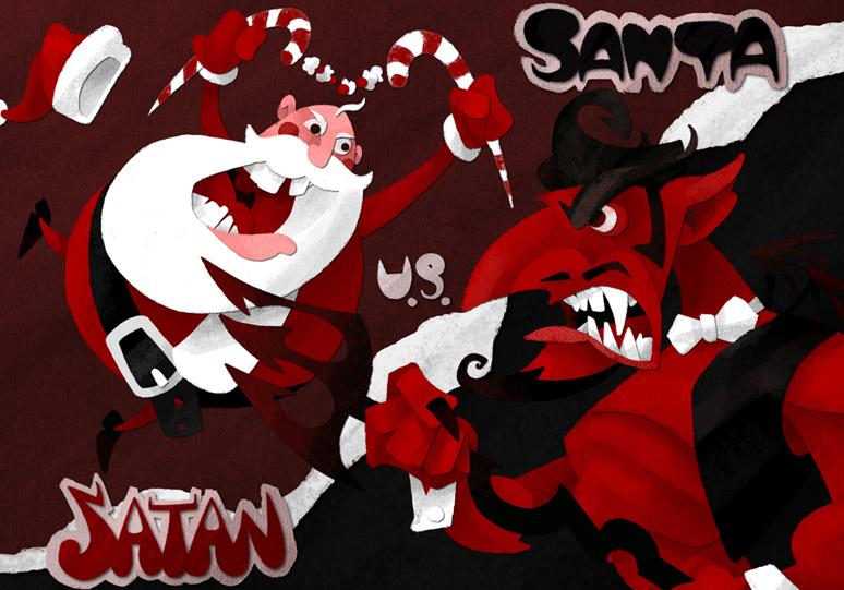 Santa Vs Satan by WonderDookie