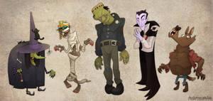 Classic Halloween Monster Line-Up by WonderDookie