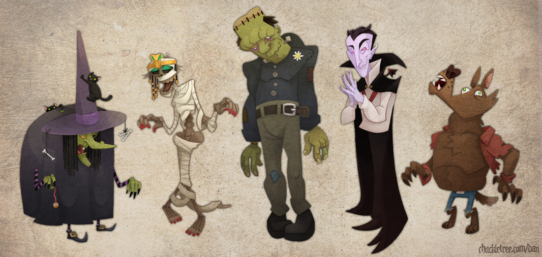 Classic Halloween Monster Line-Up by WonderDookie on DeviantArt