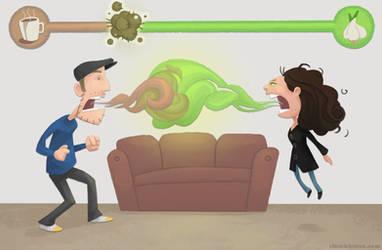 Bad Breath Battle: Coffee Vs Garlic by WonderDookie