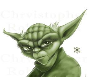 Yoda in Monochromatic Softbrush by ChristopherRobinArtz