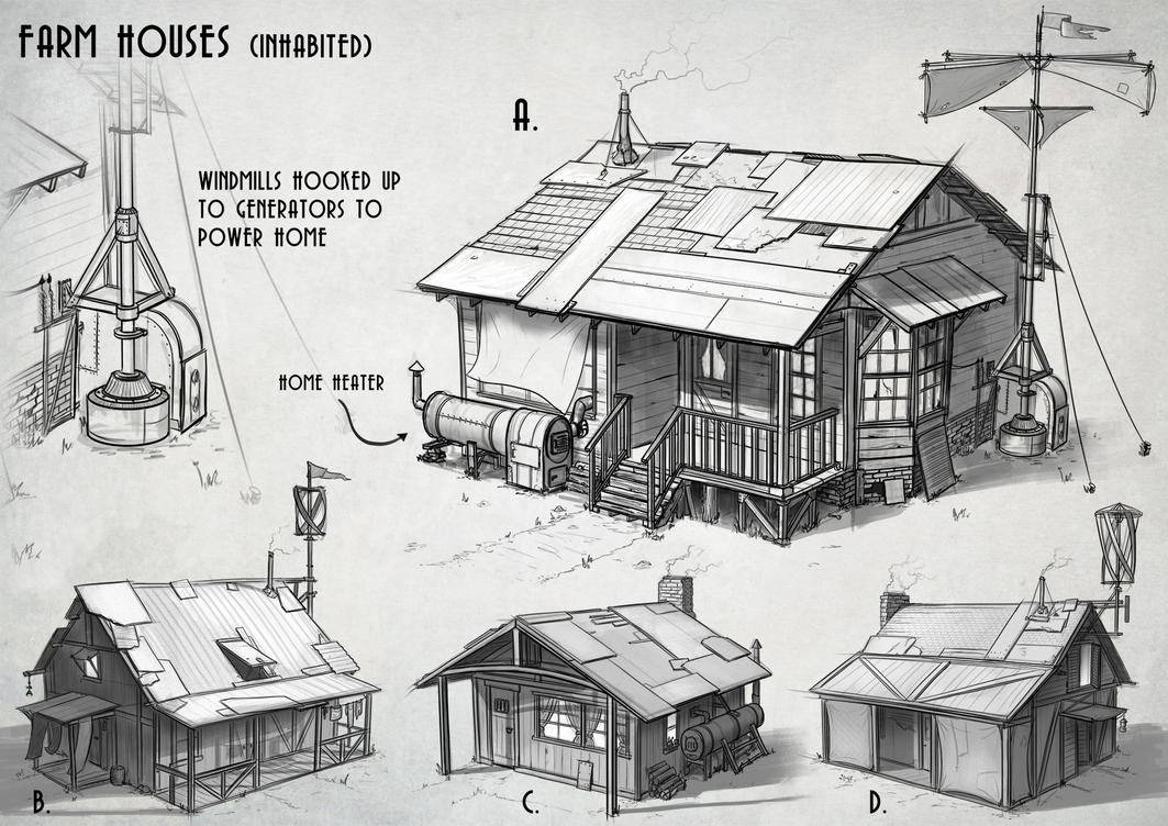Farm Sketches By AlexJJessup