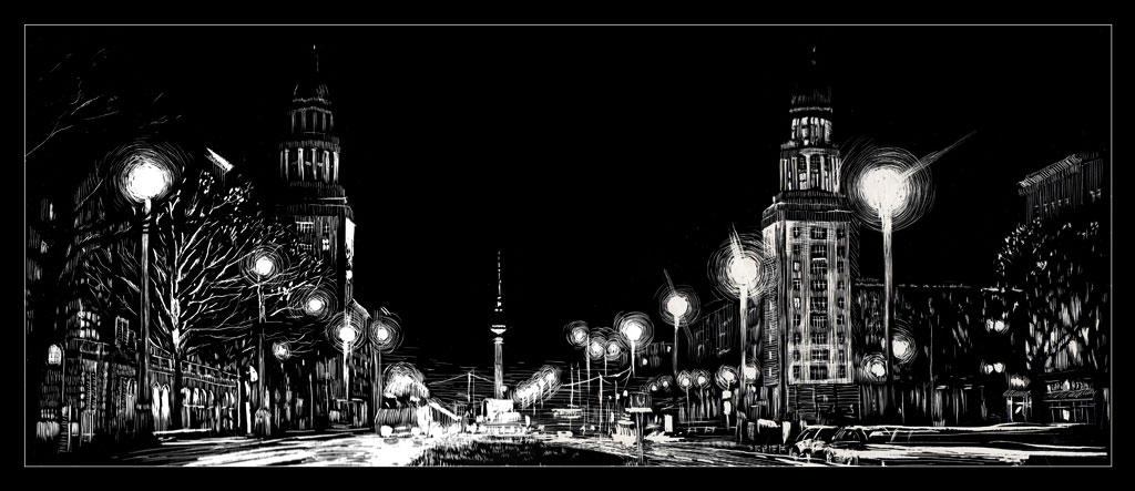 Frankfurter Tor de nuit par RoodyN