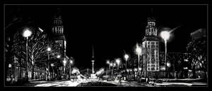 Frankfurter Tor at night