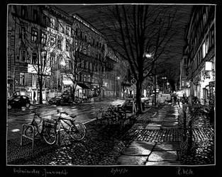 Kastanienallee in Januarnacht