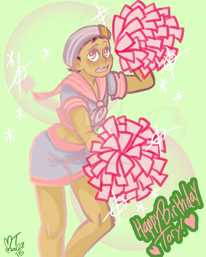 Josuke is cheering. by ArtieDrawings