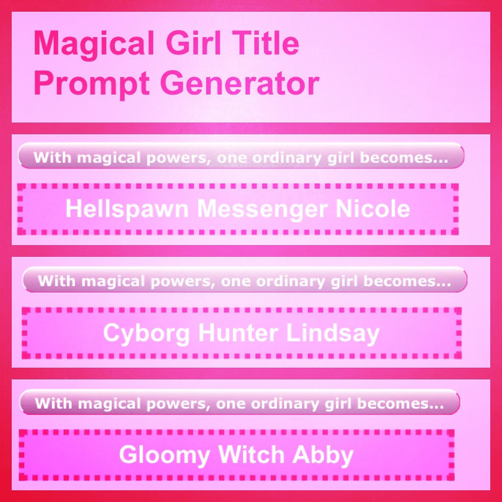 magical girl title prompt generator by artiedrawings on deviantart
