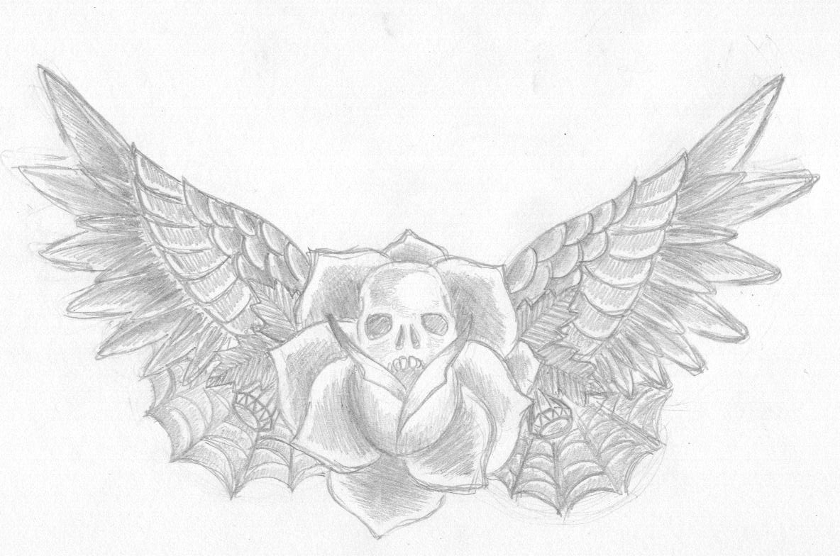 Skull With Wings And Roses Tattoos 46298 Loadtve