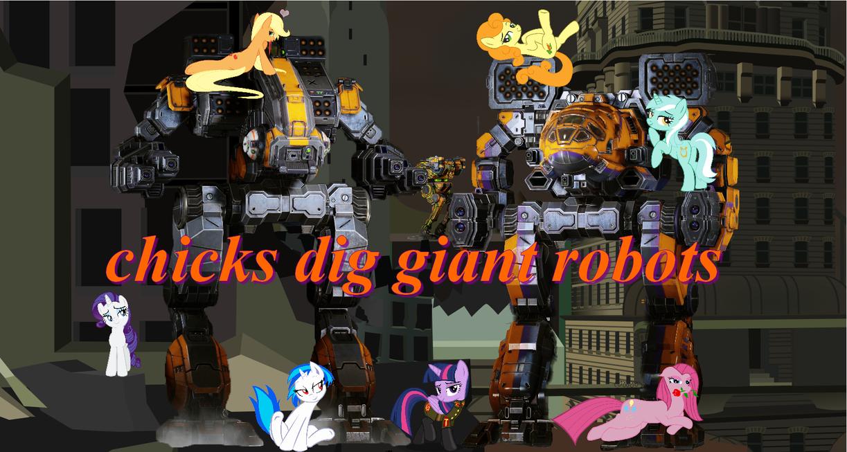 Chicks dig giant robots by darkoak213