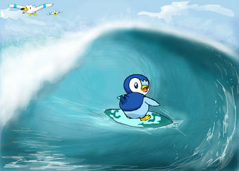 Piplup surfing!!! by worldofyarn