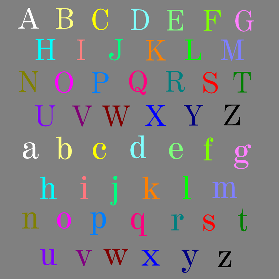 26 Color Alphabet By Bluesmccrow On Deviantart