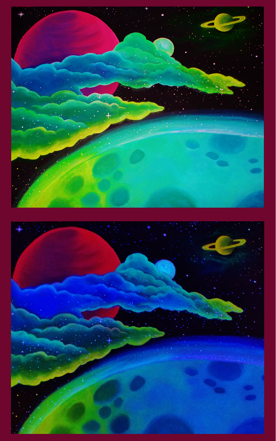 Blacklight Space Painting by greendesire
