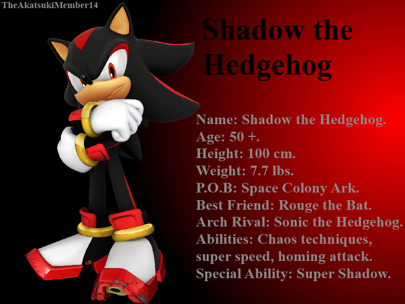 Shadow the Hedgehog factfile by TheAkatsukiMember14 on
