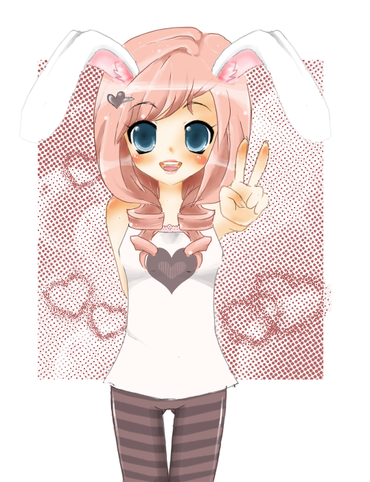 Peace out bunny girl by NekoHimeCupcake