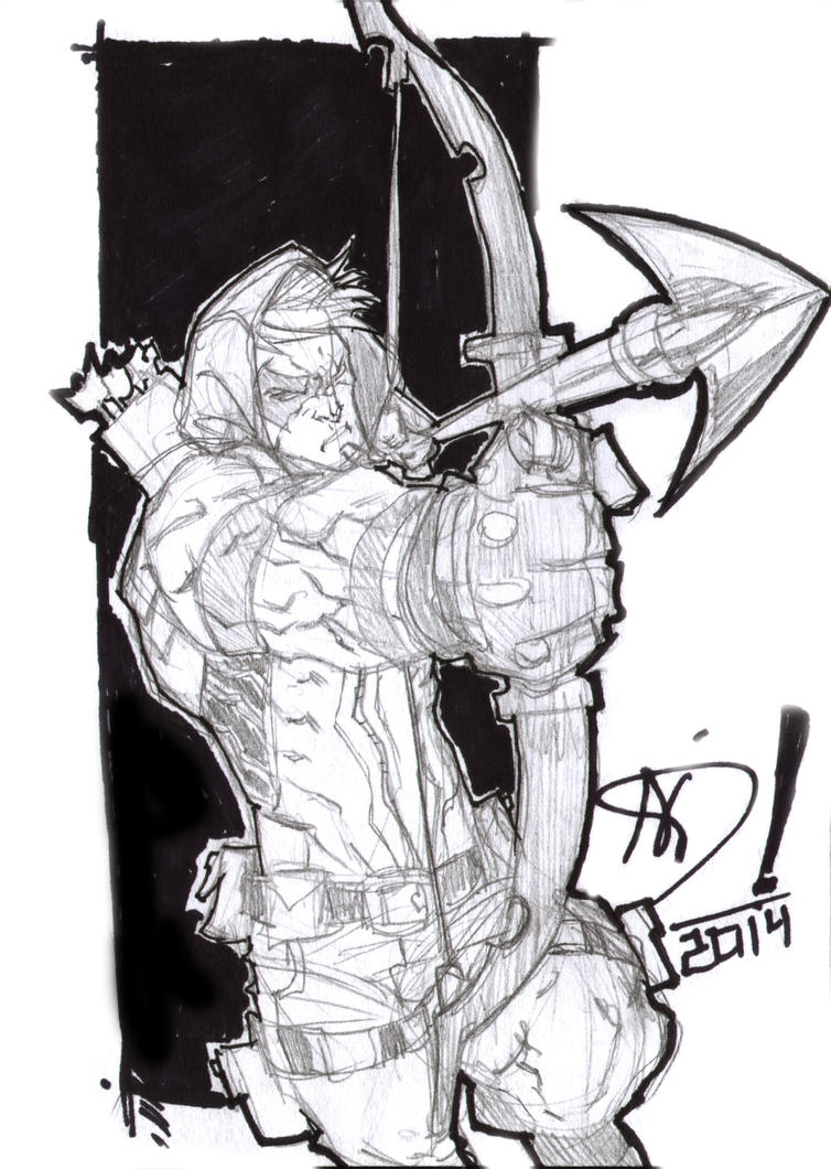 Green Arrow -Quick  Sketch (A6 size) by darnof