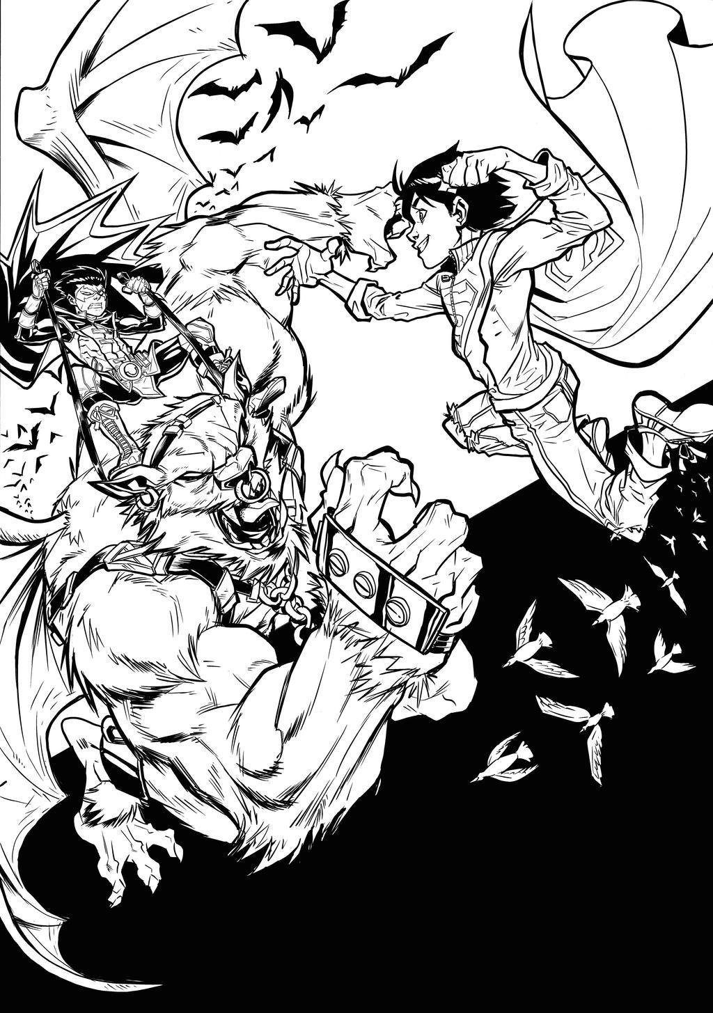 Damian VS Jon (Super Sons) - Commission by darnof