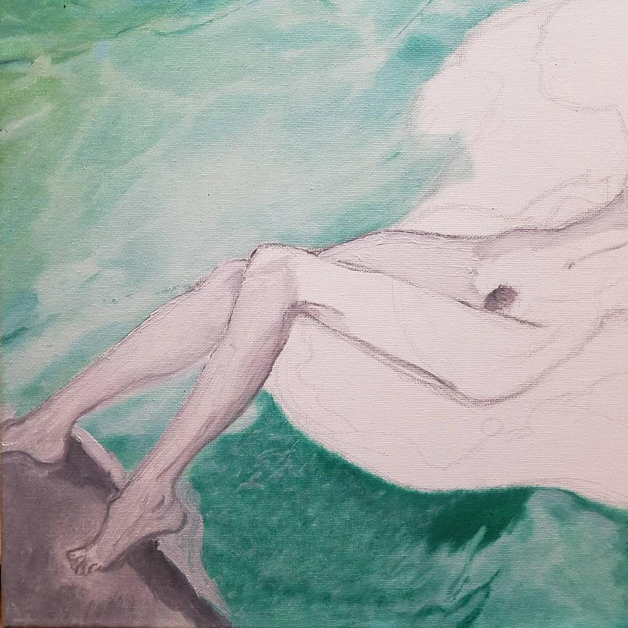 Painting my life away: Women lays on rock. Day 16 by omarkaviles