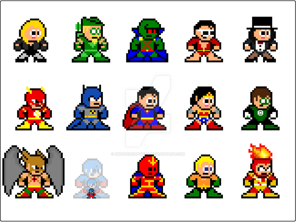 8 bit classic justice league by 8bitherodotorg on deviantart