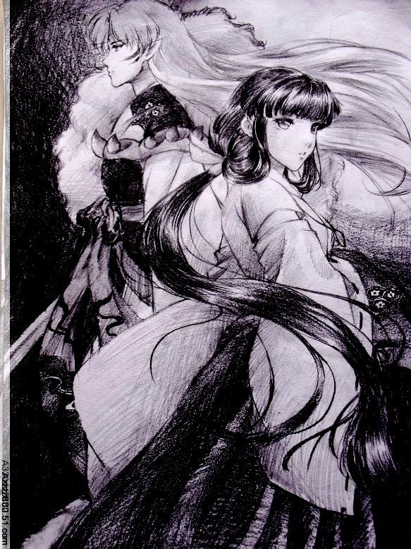 Sesshomaru and Kikyou by jiegengDai