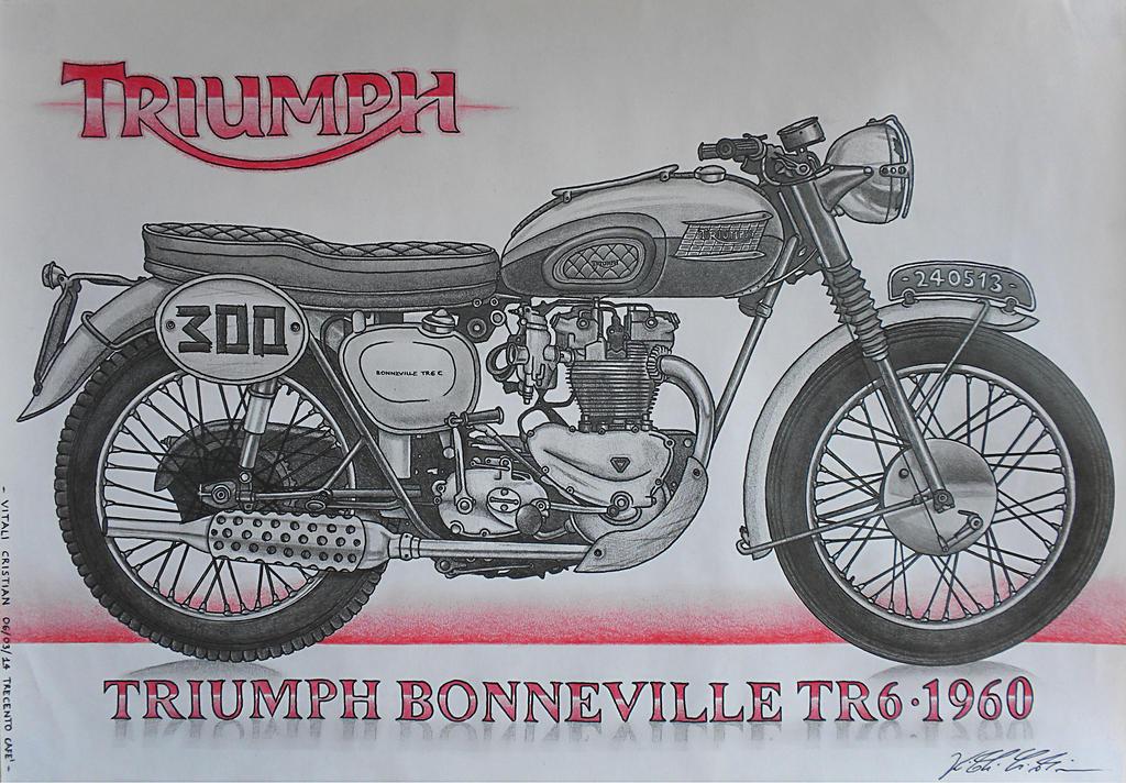 Triumph Bonneville TR6 1960 300 Commission By CrivBlock