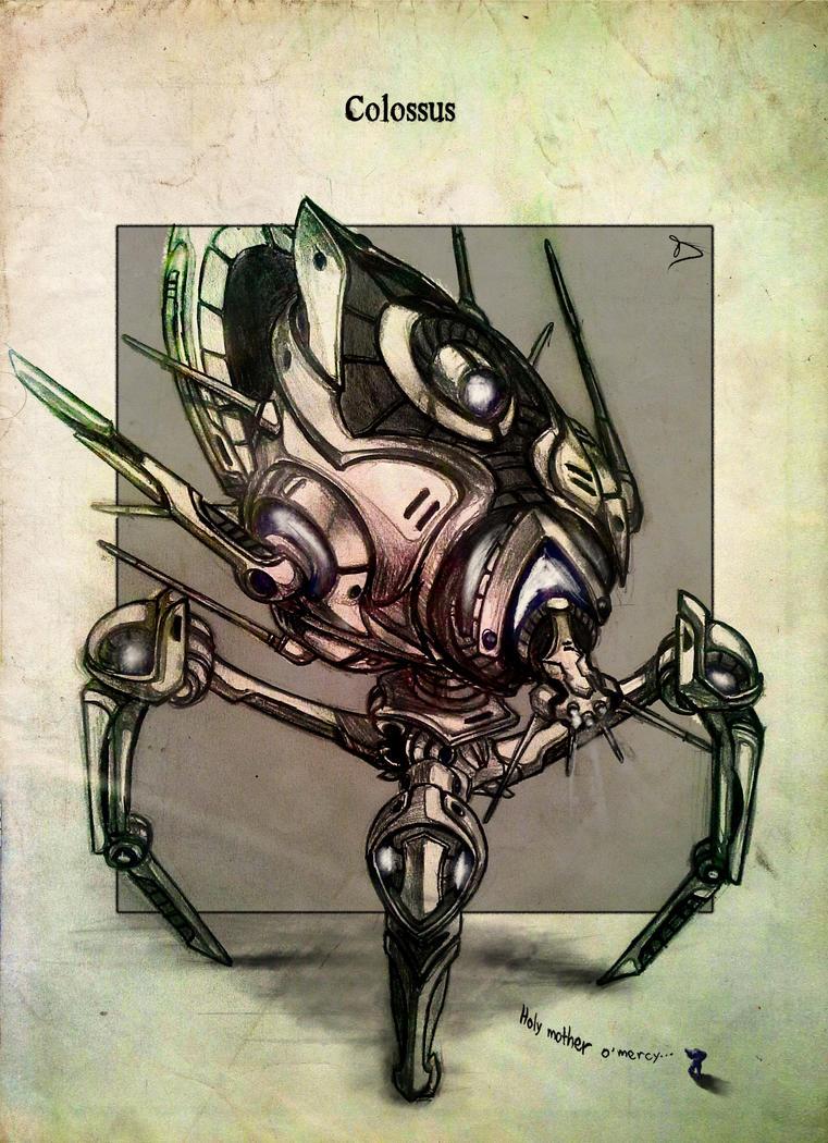 Colossus retro drawing by powerhouse-bg