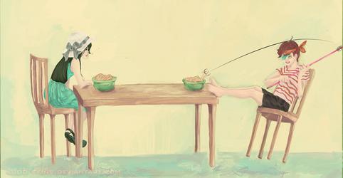 Fishing for Noodles by kuddlekinss