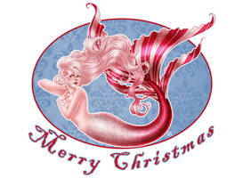 Christmas Card 2014 - Peppermint Mermaid Pin-Up by Roots-Love