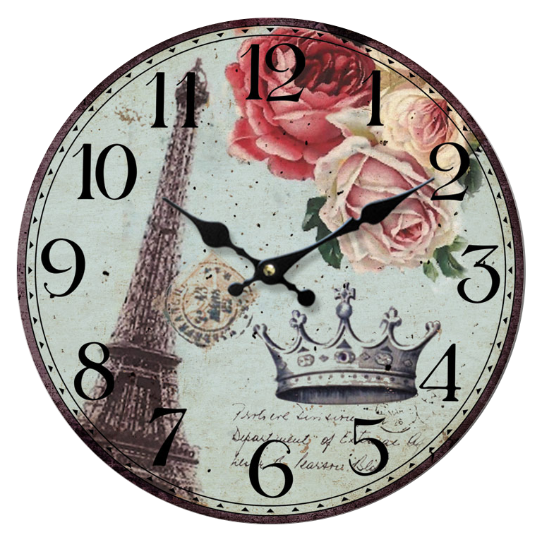 vintage clock eiffla tower roses by etienditerlizzi on