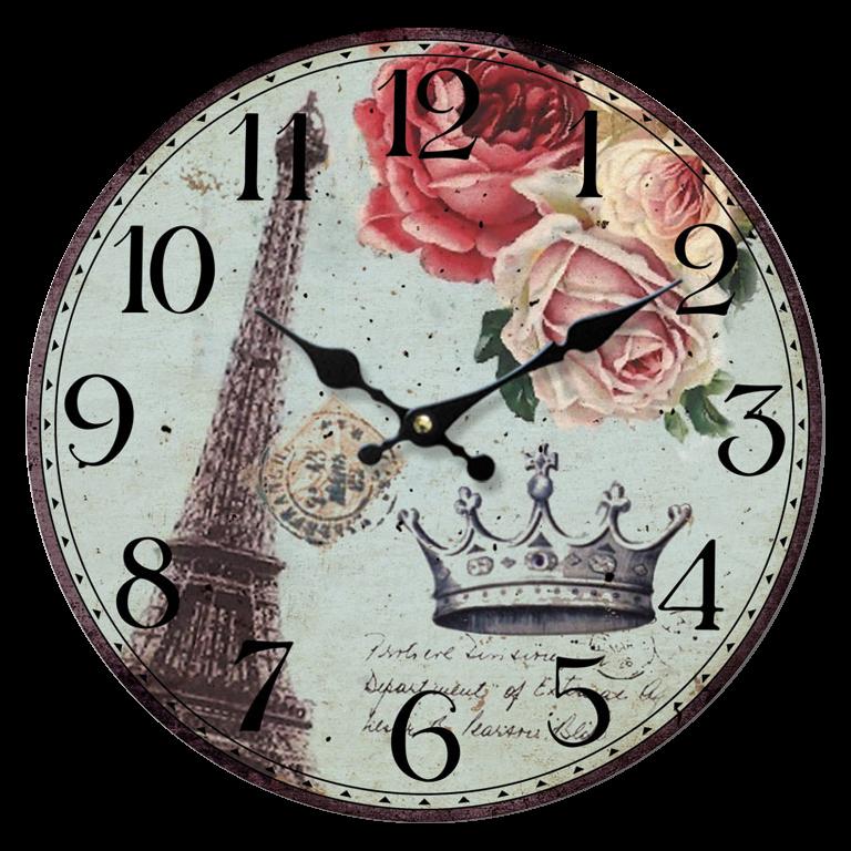 Vintage Clock - Eiffla Tower + Roses
