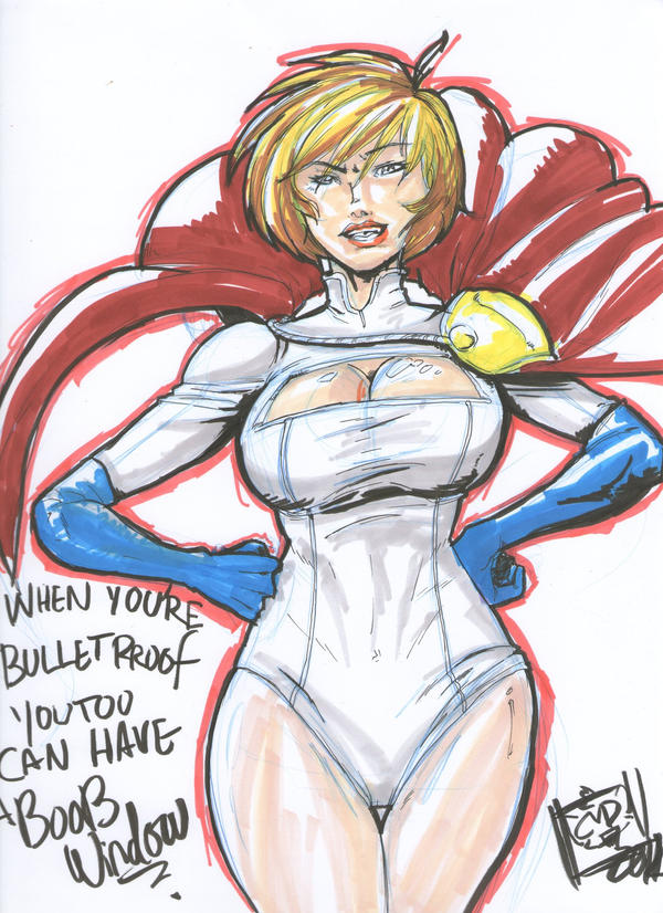 con sketch: Powergirl by coolmonkeyd