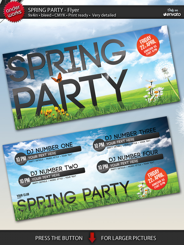 Spring Party Flyer Template By Isoarts On Deviantart