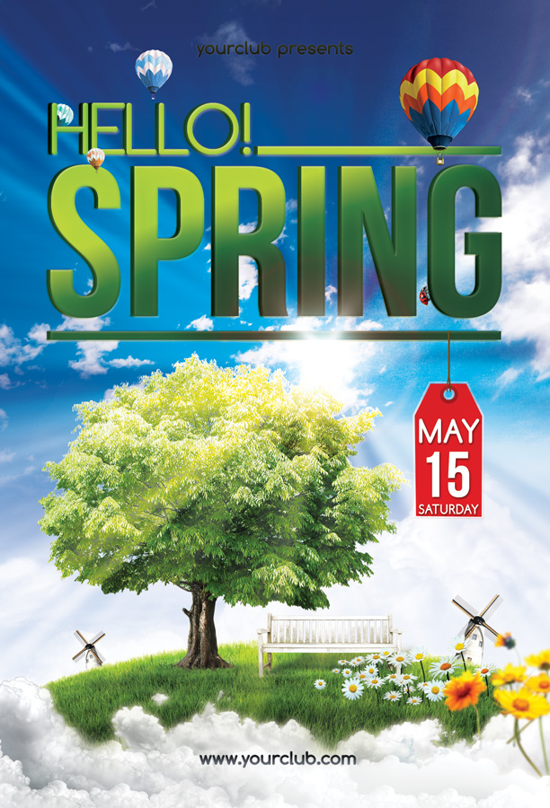 Hello Spring  Flyer Template By Isoarts On Deviantart